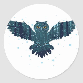 Snowy Winter Forest and Owl Classic Round Sticker
