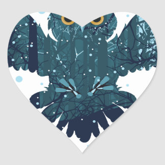 Snowy Winter Forest and Owl Heart Sticker