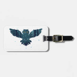 Snowy Winter Forest and Owl Luggage Tag