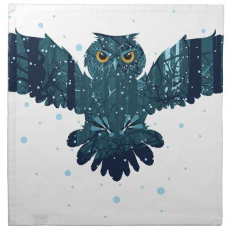 Snowy Winter Forest and Owl Napkin