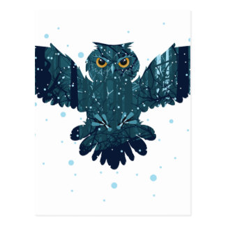 Snowy Winter Forest and Owl Postcard