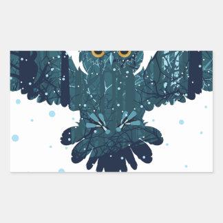 Snowy Winter Forest and Owl Rectangular Sticker