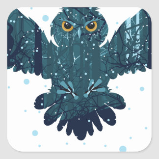 Snowy Winter Forest and Owl Square Sticker