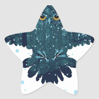 Snowy Winter Forest and Owl Star Sticker