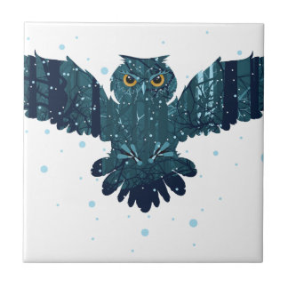 Snowy Winter Forest and Owl Tile