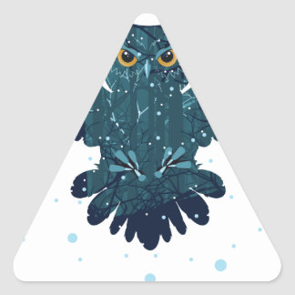 Snowy Winter Forest and Owl Triangle Sticker