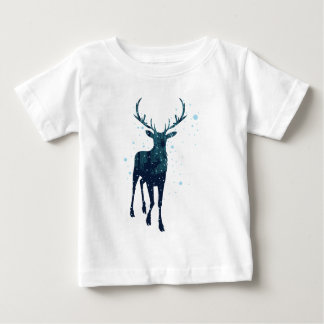 Snowy Winter Forest with Deer 2 Baby T-Shirt