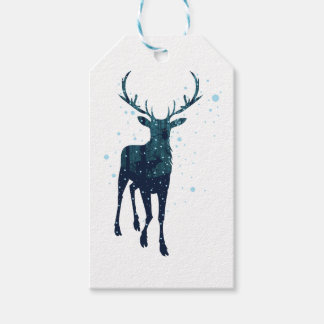 Snowy Winter Forest with Deer 2 Gift Tags