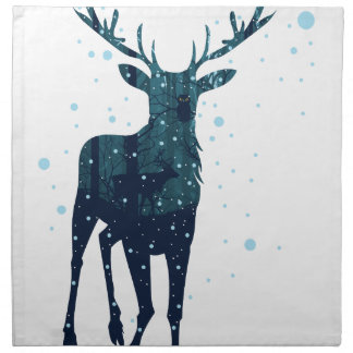 Snowy Winter Forest with Deer 2 Napkin
