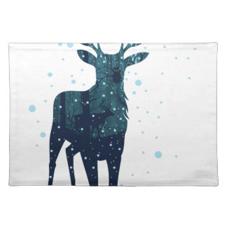 Snowy Winter Forest with Deer 2 Placemat