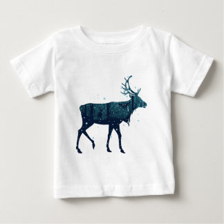 Snowy Winter Forest with Deer Baby T-Shirt