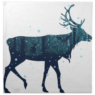 Snowy Winter Forest with Deer Napkin