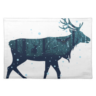 Snowy Winter Forest with Deer Placemat