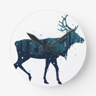 Snowy Winter Forest with Deer Round Clock