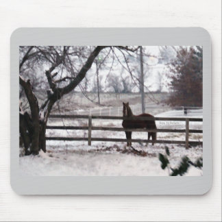 Snowy Winter Horse Mouse Pad