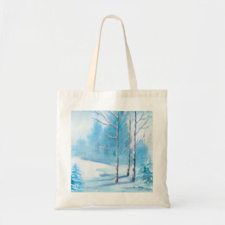 Snowy Winter Landscape Watercolor Illustration Tote Bag