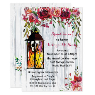 Snowy Winter Lantern Floral Bridal Shower Card