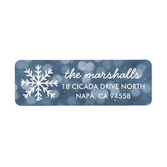 Snowy Winter Night Bokeh Holiday Return Address Label