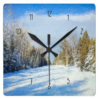 Snowy Winter Road Scene Square Wall Clock