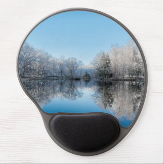 Snowy Winter Tree Lake Reflections Gel Mouse Pad