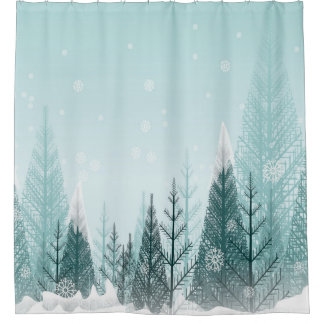Snowy Winter Trees Shower Curtain