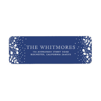 Snowy Wonderland Blue Christmas Return Address Label