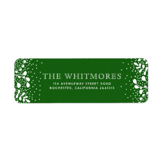 Snowy Wonderland Green Christmas Return Address Label