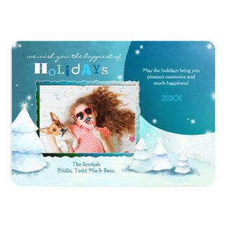 Snowy Wonders Teal Holiday Photo Card