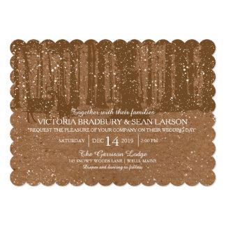 Snowy Woodland and Deers   Wedding Card