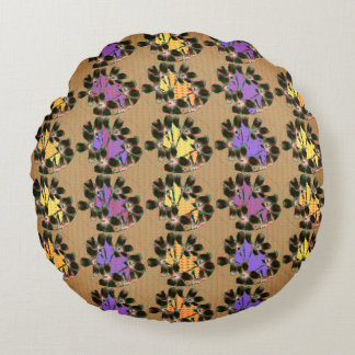 Snuggle_Accents-MOD-FLORAL-ABSTRACT_BEIGE Round Cushion
