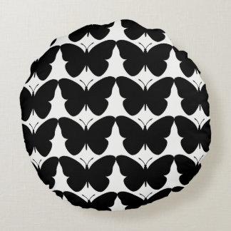 Snuggle_Black-Butterflies-Round-Home-Decor Round Cushion