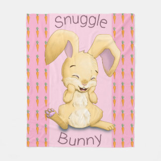 Snuggle Bunny Pink Fleece Blanket