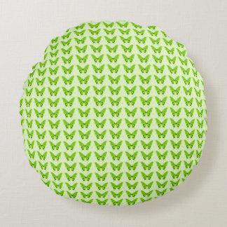 Snuggle_Green-Butterflies--Butterflies-Fly-Free Round Cushion