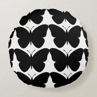 Snuggle-MOD-Black-Butterflies-Round-Home-Decor Round Cushion
