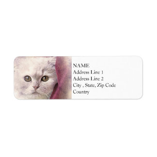 Snuggle Time Kitty | Abstract | Watercolor Return Address Label