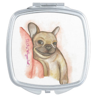 Snuggle up French Bulldog compact mirror