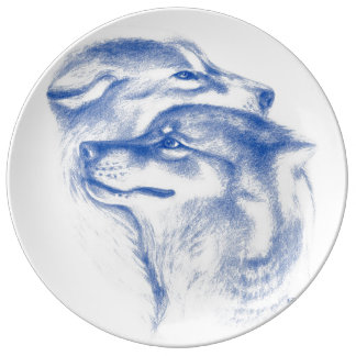 Snuggling Alpha Wolves Blue Plate