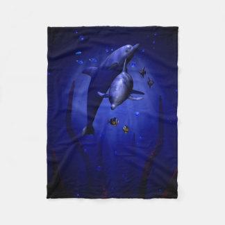 Snuggling Dolphins Fleece Blanket