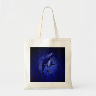 Snuggling Dolphins Tote Bag