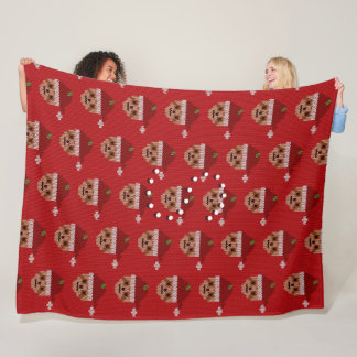 Snuggly Red Santa Sloth Fleece Blanket