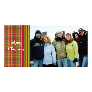 So Cute Red Plaid Merry Christmas Photo Greeting Card