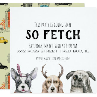 So Fetch Puppy Themed Party Card