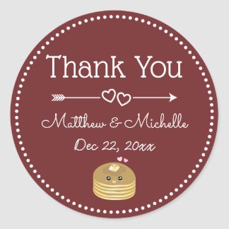 So Happy Together Burgundy Sweet Wedding Thank You Classic Round Sticker