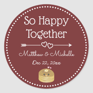 So Happy Together Whimsical Burgundy Wedding Favor Classic Round Sticker