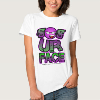 So Is Your Face, Smiley Purple Green T Shirt