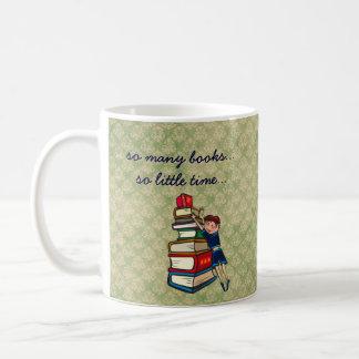 so many books, so little time girl with books basic white mug