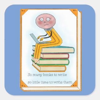 So Many Books to Write Square Sticker