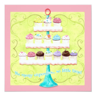 So Many Cupcakes, so Little Time!  Bday Invitation