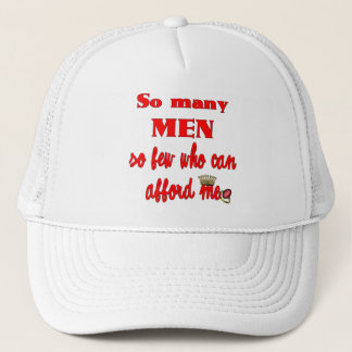 So Many Men So Few Who Can Afford Me Red Font Trucker Hat