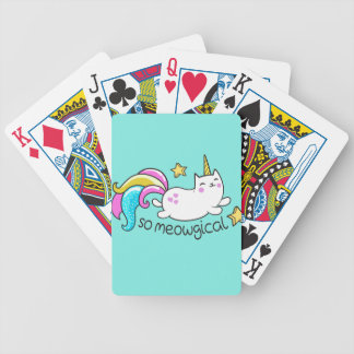 So Meowgical Cute Unicorn kitty glitter sparkles Bicycle Playing Cards